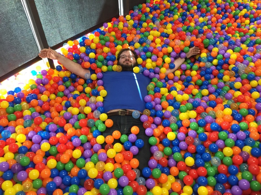 Twenty Thousand Ball Pit In Pallet Sized Bo Stacked Up Outside That Room And They Were Building A Lego Retaining Wall To Hold It All Together