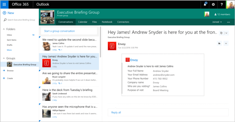 envoy integrates with microsoft office 365 groups envoy