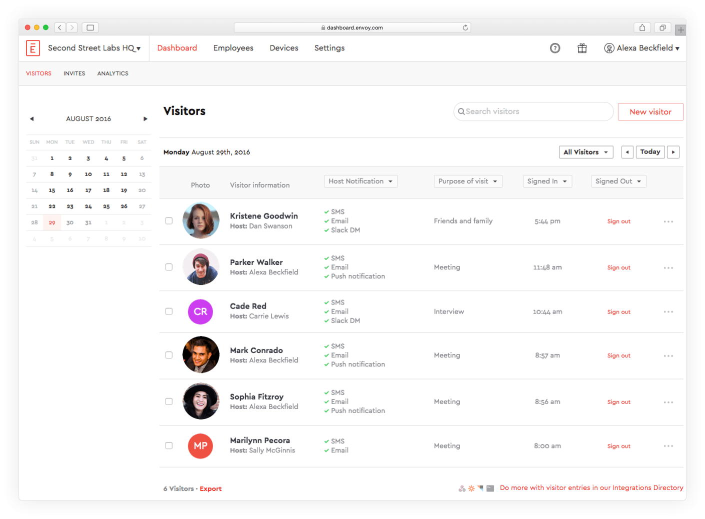 Visitor Management Dashboard | Envoy