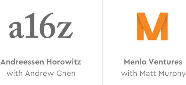 Logos of our investors: Andreessen Horowitz, Initialized, and Menlo Ventures