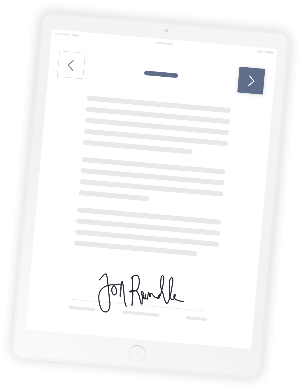 iPad showing document and visitor signature
