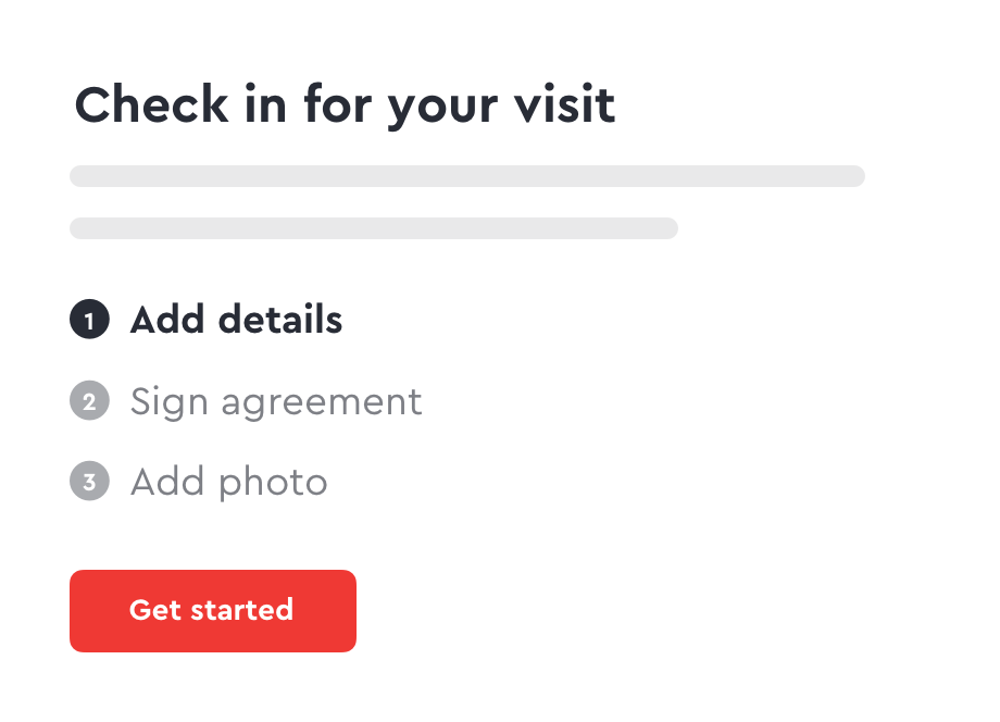 User interface for capturing visitor details