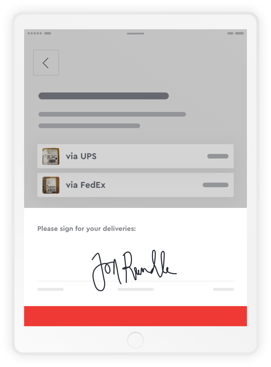 iPad showing a delivery pickup with a signature